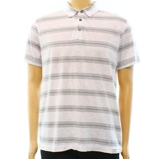 Calvin Klein Jeans NEW White Gray Mens Size Large L Striped Polo Shirt