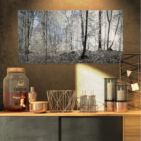 Designart 'Dark Morning in Forest Panorama' Large Canvas Art Print - Multi-color
