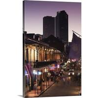 Premium Thick-Wrap Canvas entitled Tourists walking in the street, Bourbon Street, French Quarter, New Orleans, - Multi-color