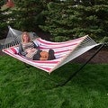 Sunnydaze 2-Person Quilted Hammock with Spreader Bars and Detachable Pillow - Hammock Stand Included - Thumbnail 11