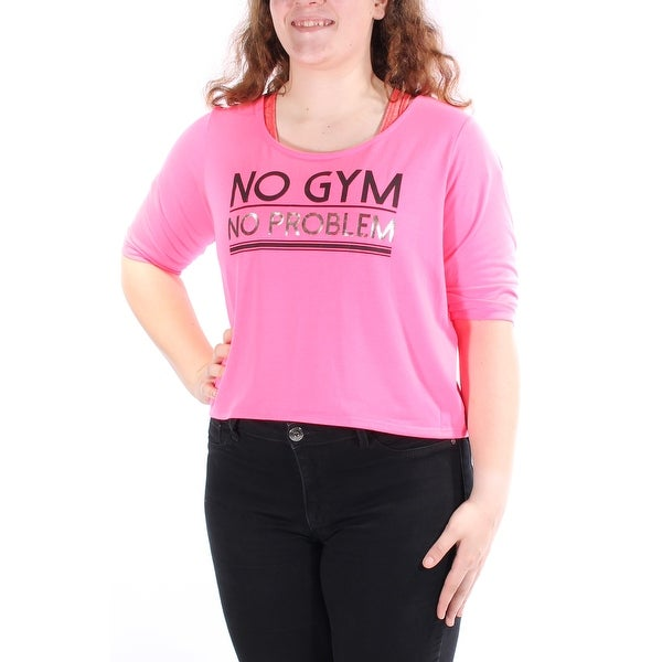 bfb57ea14 Shop MATERIAL GIRL Womens Pink No Gym No Problem 3/4 Sleeve Scoop Neck Top  Juniors Size: XL - On Sale - Free Shipping On Orders Over $45 - Overstock -  ...