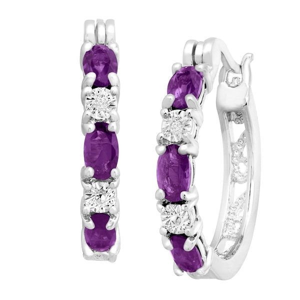 1 3/8 ct Natural Amethyst Hoop Earrings with Diamond Accents in Platinum-Plated Brass - Purple