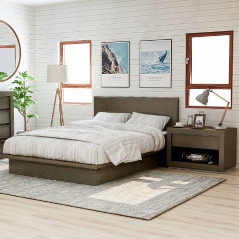 Furniture of America Puly Walnut Solid Wood 2-piece Bedroom Set