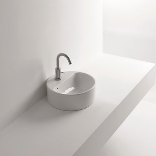 "WS Bath Collections Normal 03C 13-4/5"" Ceramic Vessel Bathroom Sink - White"