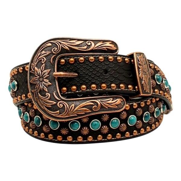 Nocona Western Belt Womens Nailheads Stones Copper Black