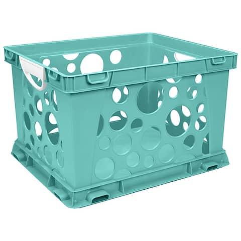 Storex premium file crate w handles teal 61694u03c