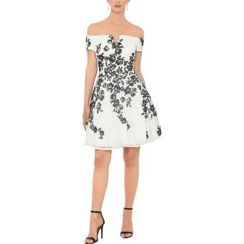 Xscape Womens Cocktail Dress Lace Strapless - Black-Ivory