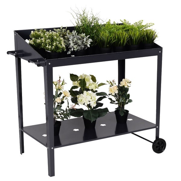 Shop Costway 40 Raised Garden Bed Potting Bench Work Station
