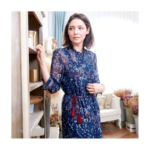 Womens White Dark Blue Semi Sheer Floral Overlay 3/4 Sleeve Casual Dress