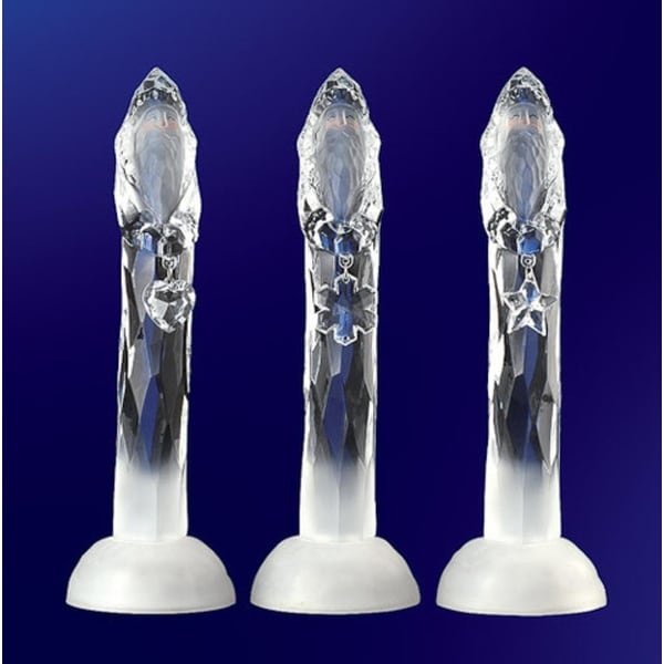 Pack of 6 Icy Crystal Illuminated Christmas Santa with Gifts Figurines 10""