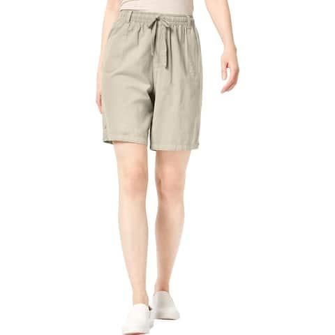Karen Scott Womens Petites Casual Shorts Cotton Woven - PL