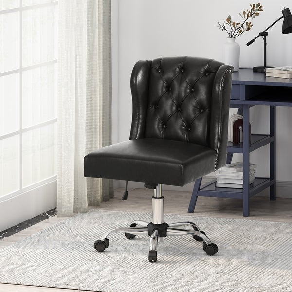 Beltagh Contemporary Wingback Tufted Swivel Office Chair by Christopher Knight Home. Opens flyout.