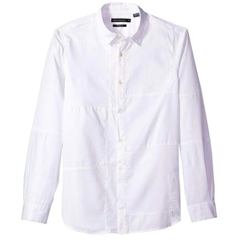 French Connection Mens Multi Dolby Patchwork Shirt Small White Long Sleeve