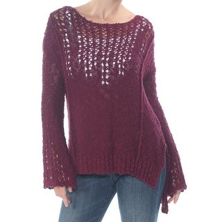 ARIZONA Womens Maroon Knit Bell Sleeve Jewel Neck Sweater  Size S