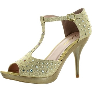 Celeste Womens Lynn-01 T-Strap Dress Bridesmaid Prom Party Sandal Pumps