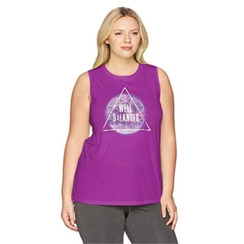 Just My Size 617914223076 Womens Plus Size Active Graphic Muscle Tank - Well Balanced and Plum Dream 2X