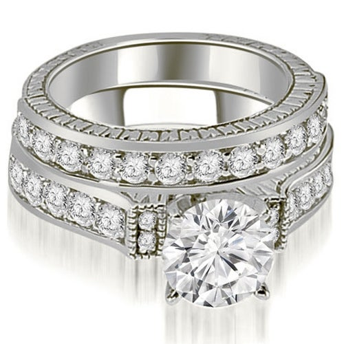 2.15 cttw. 14K White Gold Antique Round Cut Diamond Bridal Set