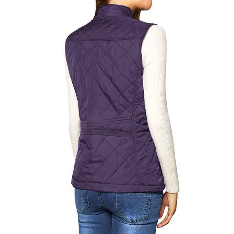 Women's Zip Up Front Stand Collar Slant Pockets Quilted Padded Vest