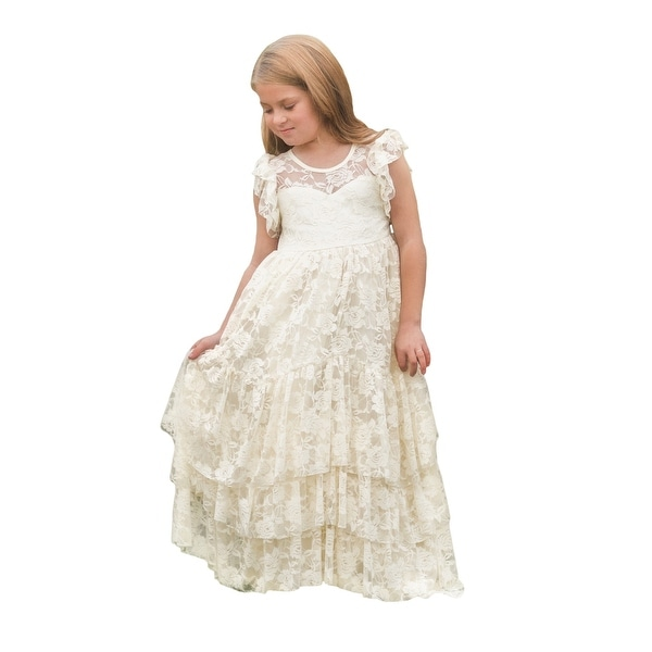 5b751b74dd8 Shop Little Girls Ivory Lace Ruffles Floor Length Coralynn Flower Girl Dress  - Free Shipping Today - Overstock - 23077759