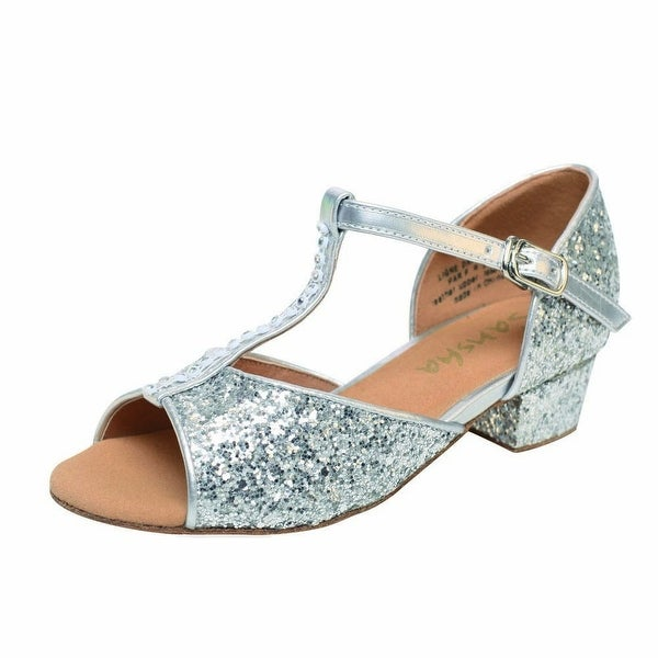 6a111e4920 Sansha Silver Alexa Ballroom Glitter Dance Shoes Girls 11-7 M Kids