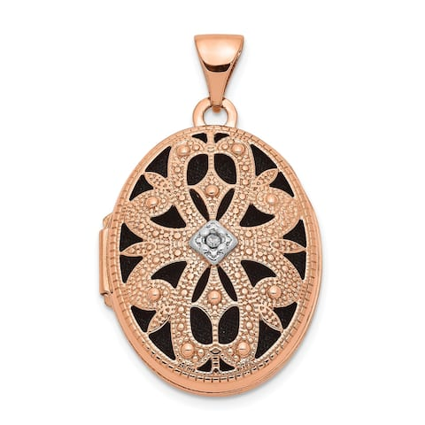14K Rose Gold 21mm Oval with Diamond Vintage black interior Locket with 18-inch Cable Chain by Versil