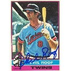 Phil Roof Minnesota Twins 1976 Topps Autographed Card  This item comes with a certificate of authen