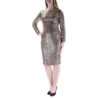 Womens Gold Long Sleeve Knee Length Sheath Party Dress Size: 8