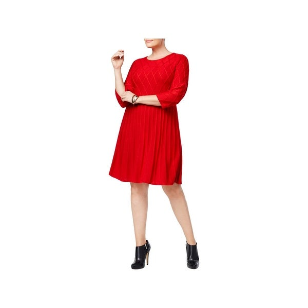 Jessica Howard Womens Plus Sweaterdress Knit Knee-Length