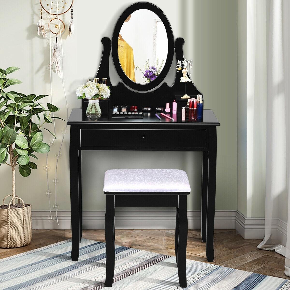 Shop Gymax Bedroom Wooden Mirrored Makeup Vanity Set W Stool Black