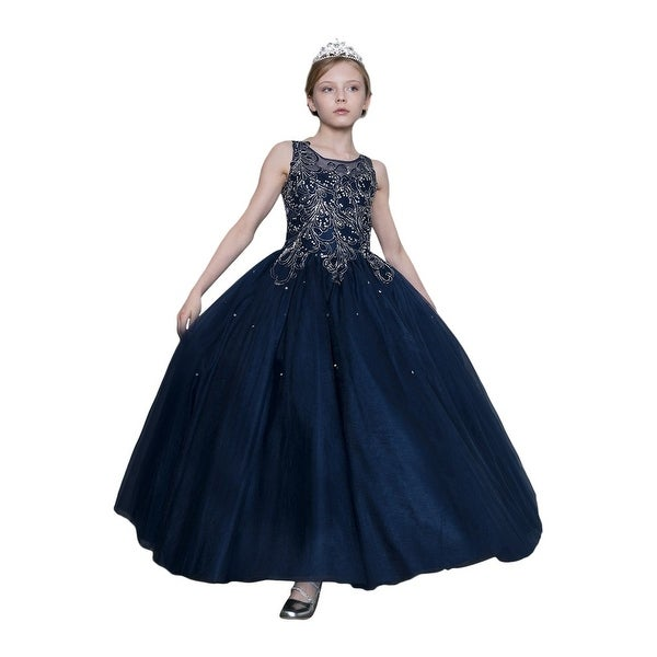 3701744c9e Shop Calla Collection Girls Navy Silver Embroidered Pageant Dress ...