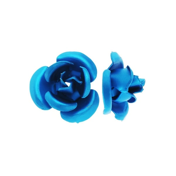 Metal Embellishments, Rose Flower Beads 6mm, 20 Pieces, Matte Blue