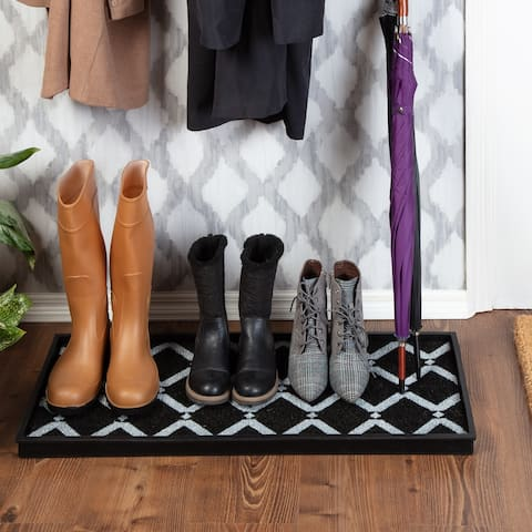 Jani Natural & Recycled Rubber Boot Tray with Black & Ivory Diamond Coir Insert