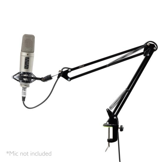 Suspension Microphone Boom Stand - Studio Scissor Arm Mic Mount Holder with Shock Mount Clip (Table Clamp Style)