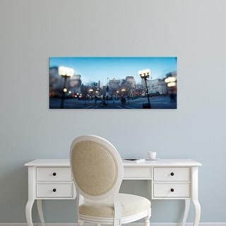 Easy Art Prints Panoramic Image 'Lampposts lit up at town square, Union Square, New York City, New York' Canvas Art