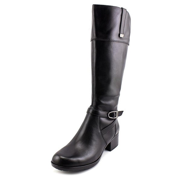 Bandolino Baya Wide Calf Women Round Toe Leather Black Knee High Boot