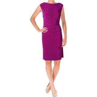 Lauren Ralph Lauren Womens Vannalyn Cocktail Dress Matte Jersey Fitted