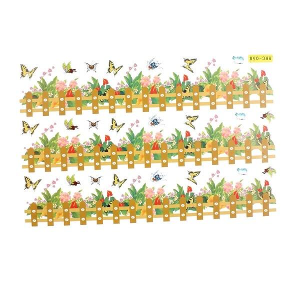 Flower Butterfly Rail Fence Pattern Decor Paper Foam Made Wall ...