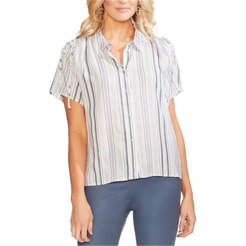 Vince Camuto Womens Drawstring Button Up Shirt