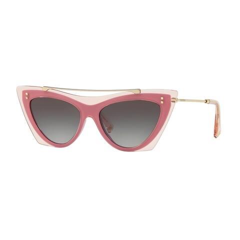 Valentino VA4041 51078G 53 Transparent Pink/pink Shock Woman Cat Eye Sunglasses