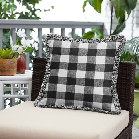 Black Plaid Indoor/Outdoor Square Pillow with Fringe