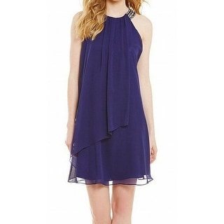 Vince Camuto NEW Blue Women's Size 10 Chiffon Embellished Shift Dress