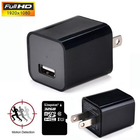 AGPtek HD1080P Hidden Spy Mini Camera USB Wall Adapter US Plug Charger Nanny Cam DV 32G