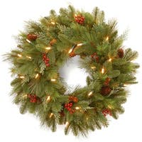 """24"""" Noelle Wreath with Battery Operated Warm White LED Lights - green"""