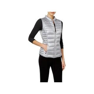 Calvin Klein Womens Packable Vest Metallic Front Pockets - s