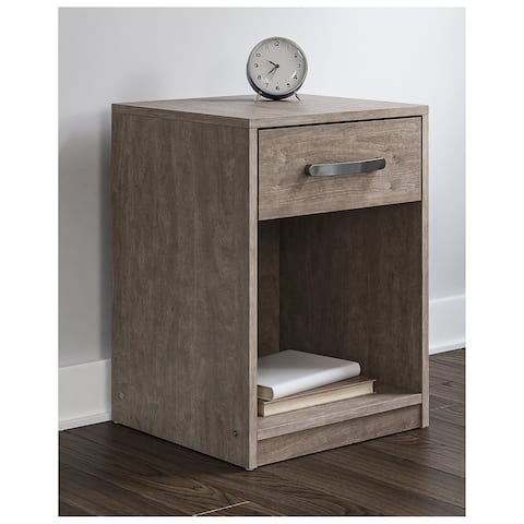 Flannia Warm Gray One Drawer Nightstand