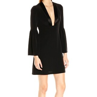 Jill Jill Stuart NEW Black Womens Size 4 Satin-Trim Crepe Sheath Dress