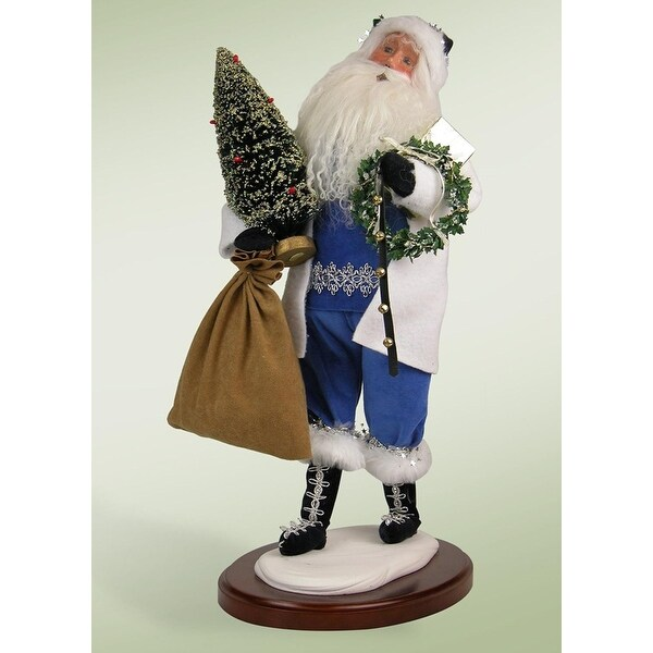 "Walking In A Winter Wonderland Santa Claus Christmas Caroler Figure 18"" - BLue"