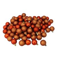 "96ct Burnt Orange Shatterproof 4-Finish Christmas Ball Ornaments 1.5"" (40mm)"