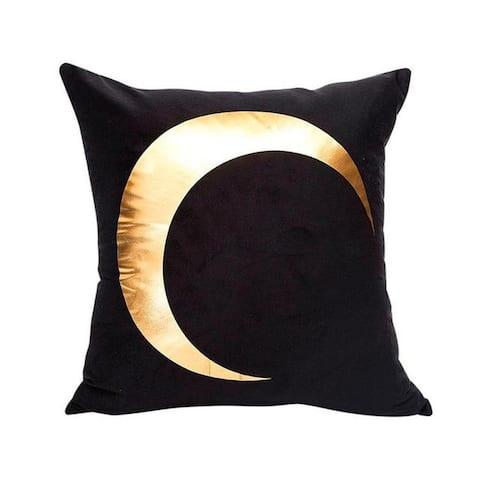 Black Bronzing Gold Foil Print Throw Pillow Case 13310509-4