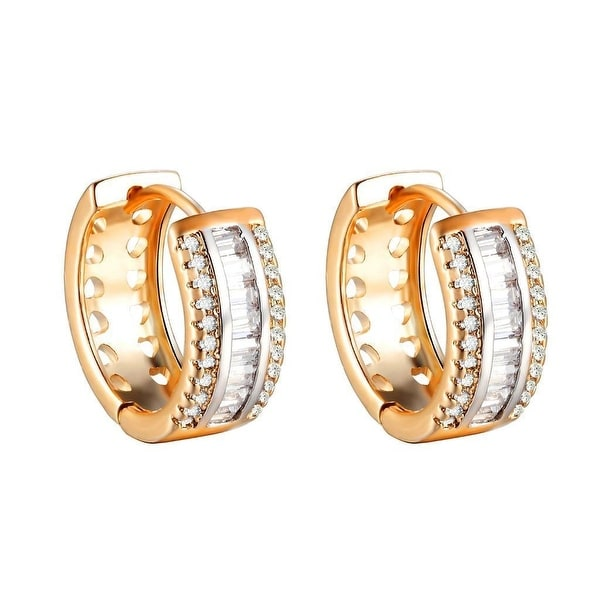 14k Gold Tone Hoop Earrings Lab Diamonds Womens Ladies Classy Huggies